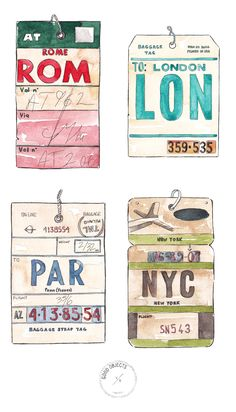 Good objects - Vintage Flight tags collection - Watercolor art prints. SHOP HERE !