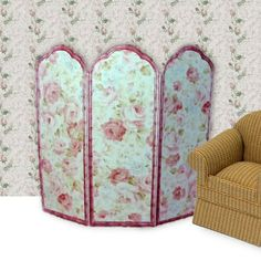 Half Scale Dollhouse Miniature Shabby Cottage Chic Pink Roses Decorative Room Screen