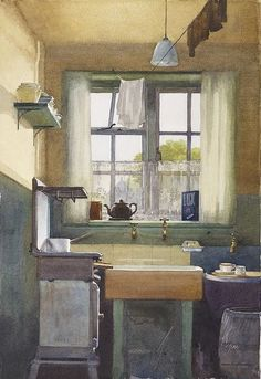 The Scullery 15 Dalston Road by Frank Taylor Lockwood. © Arthur Lockwood, Jean T Barnsby. Watercolour view of kitchen at 15 Dalston Road. Watercolour on board, 254 x Birmingham Museums & Art Gallery (Reproductions available) Outdoor Toilet, Birmingham Museum, Museum Art Gallery, Through The Window, Room Paint, Oeuvre D'art, Windows And Doors, Vintage Kitchen, Sweet Home