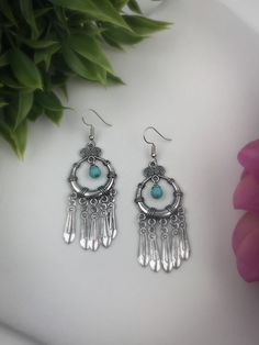 Bohemian Earrings with Turquoise Center – Belvie Jewelry
