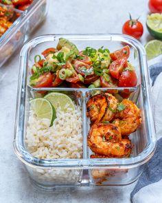 BBQ Shrimp + Limey Avocado Salsa Meal Prep Bowls 🍤🔥🥑🍅 makes 4 servin. - Health and fitness - BBQ Shrimp + Limey Avocado Salsa Meal Prep Bowls 🍤🔥🥑🍅 makes 4 servings . Lunch Meal Prep, Meal Prep Bowls, Healthy Meal Prep, Healthy Eating, Simple Meal Prep, Clean Eating Fish, Fitness Meal Prep, Family Fitness, Dinner Healthy