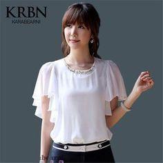 KRBN Marca Mulheres Tops Chiffon Blusa Mulheres Roupas de Verão 2016 das Senhoras Blusas de Manga Curta Casuais Plus Size Menina Branca camisas