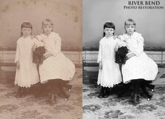 Two young girls in formal dresses - Digital photo restoration www.riverbendrestoration.us #photorestoration #photorepair #turnofthecentury #vintagephotos