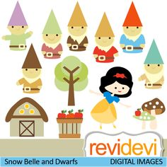 Fairy tale cliparts. Girl with seven dwarfs. These   digital images are  great for any craft and creative  projects