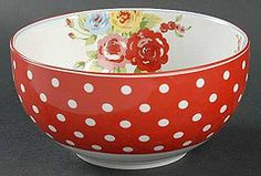 pretty flower and polka dot bowl. Red Plates, Vintage Dinnerware, Pip Studio, Cereal Bowls, Pretty Flowers, Red And White, Polka Dots, Pottery, Garden Gate