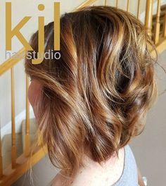A line. Bob. Short hair. Fall colors. Carmel hair. Honey haor. Copper hair.