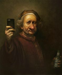 Rembrandt: king of the selfie and minimal lighting. Pencil sketch, painted in photoshop.