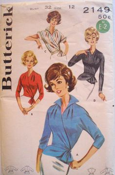 Women's Vintage 1960's Sewing Pattern - Wrap Around Blouse - Butterick 2149 - Size 12, Bust 32, Uncut by Shelleyville on Etsy