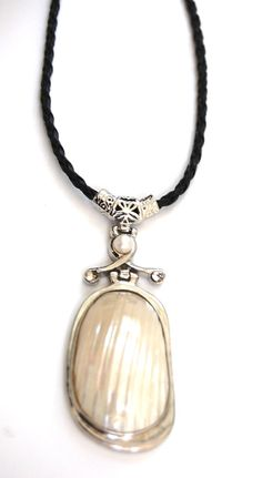 Natural Gemstone Mother of Pearl Pendant Necklace Black Cord Silver Plate Bail by BeautyandtheGems on Etsy