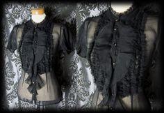 Goth Black Frill Bib Detail VICTORIAN GOVERNESS High Neck Blouse 8 10 Steampunk - £24.00