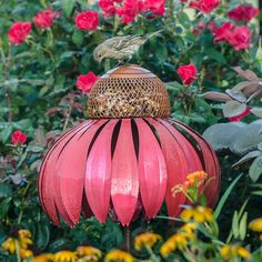Coneflower Bird Feeder (Desert Steel Coneflower Bird Feeder), Multi (Metal), Outdoor Décor