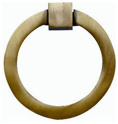 Mission Style Solid Brass Ring Pull, Antique Brass Finish - contemporary - pulls - Look In The Attic & Company