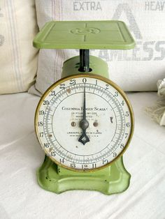 Vintage Kitchen Scale, Green Columbia Family Scale, 24 lbs, Antique Kitchen Scale. $38.00, via Etsy.