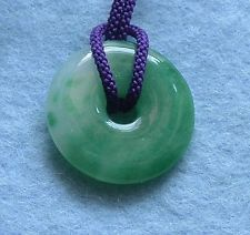 Jade disc pendant jade disk jade pi bi pendants jade donut round jade pendant with japanese pure purple silk string necklace new 14 21 mozeypictures