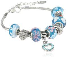 Charmed Feelings Light Blue Murano Glass Style Beads Mom Charm Bracelet
