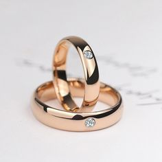 Tungsten Couple Rose Gold Rings Inlaid Cubic Zirconia Simple and Vogue Style Polish Craft , promise rings for couples, promise rings for her and him Engagement Rings Couple, Promise Rings For Couples, Three Stone Engagement Rings, Halo Diamond Engagement Ring, Diamond Wedding Rings, Vintage Engagement Rings, Wedding Bands, Solitaire Rings, Diamond Rings