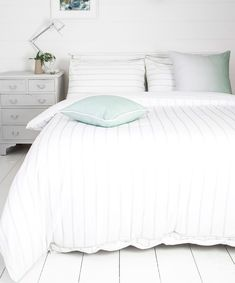 A classic stripe duvet set in white with decorative grey stripes, the duvet and pillowcases hasve piped edging in fashionable mint green. King Size Duvet Sets, Double Duvet Set, Bed Company, White Bedrooms, White Bedding, Grey Stripes, Duvet Covers, Pillow Cases, Cushion