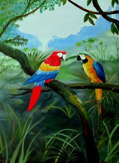 Two colorful macaws enjoy one another's company in this lush jungle painting. Craggy mountains rise in the distance and waterfalls spill over cliffs into the jungle bottoms below. This painting was done with loving detail using acrylic paints.  Price: 20.00  http://fineartamerica.com/profiles/brad-simpson.html