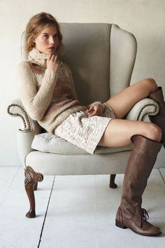 Anthropologie outfit, sweater, lace, leather boots