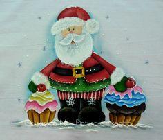 Coisas da Nil - Pintura em tecido: Papai Noel com cupcakes.