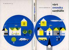 Vårt svenska samhälle, illustration by Staffan Wiren 1960s