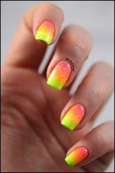 Neon Gradient & Glitter by didoline - Nail Art Gallery nailartgallery.nailsmag.com by Nails Magazine www.nailsmag.com #nailart