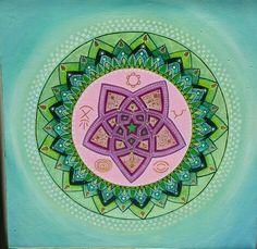 Mandala con symboli spirituali amore  speranza e protezione