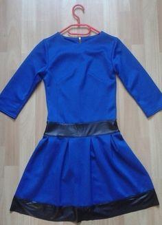 Kup mój przedmiot na #vintedpl http://www.vinted.pl/damska-odziez/krotkie-sukienki/14089074-rozkloszowana-granatowa-sukienka-z-ekoskora