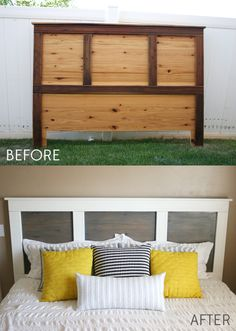 Headboard Makeover with Chalky Finish Paint Clean and modern headboard make over with Americana Decor Chalky Finish.Clean and modern headboard make over with Americana Decor Chalky Finish. Headboard Makeover, Furniture Makeover, Diy Furniture, Painted Furniture, Furniture Refinishing, Bedroom Makeover Before And After, Ikea, Modern Headboard, Custom Headboard