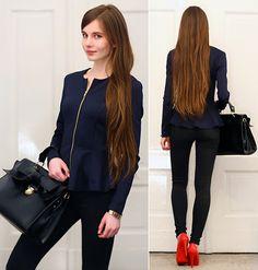 Navy Blue Peplum Jacket, Black Pants, Toria Blanic Red Leather Heels, Black Bow Bag, Back Stage Gold Bracelet
