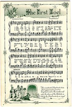The First Noel (& other free vintage Christmas printable sheet music) Christmas Sheet Music, Noel Christmas, Christmas Images, Winter Christmas, Vintage Christmas, Christmas Crafts, Xmas Music, Christmas Letters, Christmas Lyrics