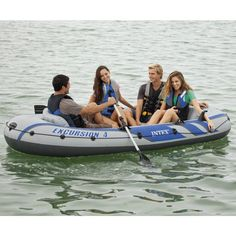 Intex Excursion 4, 4-Person Inflatable Boat Set with Aluminum Oars and High Output Air Pump (Latest Model) : Open Water Inflatable Rafts : Sports & Outdoors