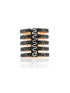 Bee Goddess Diamond 5 Row Wide Squiggle Ring. 14k Rose Gold Wide Ring Features 5 Rows Of Pave Black Diamonds, With A Squiggle Design On The Straight Bar. Total Diamond Weight 3.90cts.