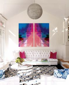 Love this bright art in the room #homedecor #art