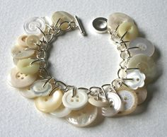 Button Bracelet Cream White and Pearly Buttons. $29.50, via Etsy.