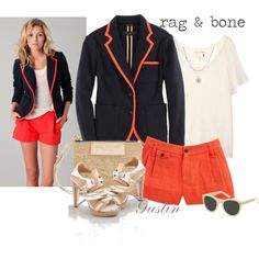 "Love the orange piping on the blazer.  ""rag & bone"" by stacy-gustin on Polyvore"