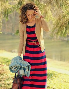 idea for how to wear a striped tee dress or knit dress    Fashionable Comfort by Kristina