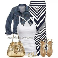 Perfect casuak ensemble. Gold thong sandals. Gokd hobo bag. White tee chevron maxi skirt. Denim jacket