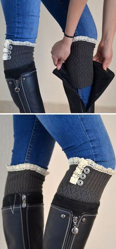 Gray & Ivory Lace Boot Cuff ♥