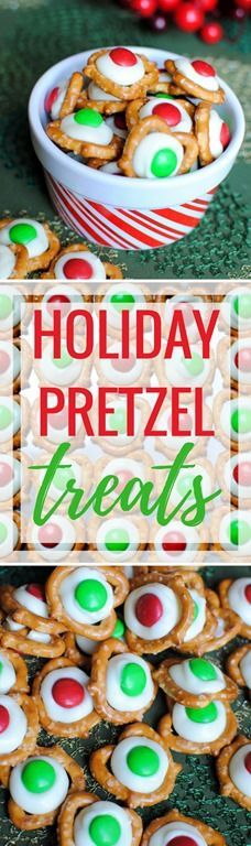 Easy Holiday Pretzel Treats (Easy sweet and salty holiday pretzels with only three ingredients! Pretzel Treats, No Bake Treats, Pretzels, Christmas Baking, Christmas Sweets, Christmas Parties, Xmas Party, Christmas Fun, Christmas Cookies