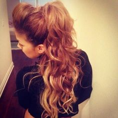 long, highlighted wavy ponytail!