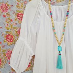 Teal tassel necklace - long wooden bead and colored resin bead tassel necklace
