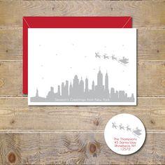 Christmas Cards Holiday Cards Santa Skyline City by DeanPenn