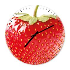 The Strawberry - Designer Kitchen Wall Clock by Clockadoodledooo on Etsy