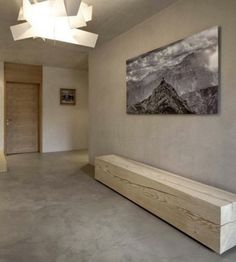 Wooden bench, glass light fixture, cement walls and floors … Chalet Design, Chalet Style, Wc Decoration, Square Windows, Interior Architecture, Interior Design, Boutique Deco, Cement Walls, Contemporary Interior