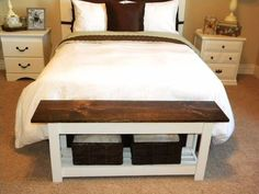 Decorating: quick bench foot of bed thrifty and chic diy projects home decor bench foot Furniture, Bed Bench, End Of Bed Bench, Bedroom Design, Bedroom Diy, Home Decor, Ikea Storage Bed, Bench With Storage, Interior Design
