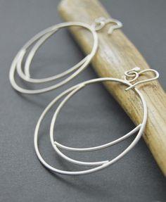 """Silver hoops, hoop earrings, """"Eclipse"""" earrings, sterling silver hoops, handmade hoops by BLUEskyBLACKbird on Etsy https://www.etsy.com/listing/195792968/silver-hoops-hoop-earrings-eclipse"""