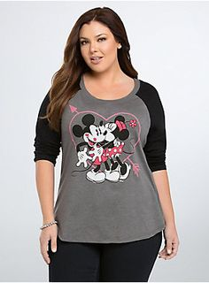 "<p>Single or taken, everyone can admit Mickey + Minnie = relationship goals. This grey tee has black raglan sleeves and a graphic of our fave couple smooching under a Cupid heart.</p>  <p> </p>  <p><b>Model is 5'9"", size 1</b></p>  <ul> 	<li>Size 1 measures 29 1/2"" from shoulder</li> 	<li>Cotton/polyester</li> 	<li>Wash warm, dry low</li> 	<li>Imported plus size tee</li> </ul>"