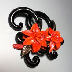Gauges / plug earrings Tiger Lily.  Polymer clay by ClayGauged, $56.50