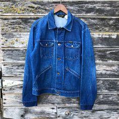 225fd08089 70s vintage Wrangler No Fault Denim jacket size 44 14 oz faded blue jean  jacket late 60s rockabilly grunge trucker jacket men L large 46